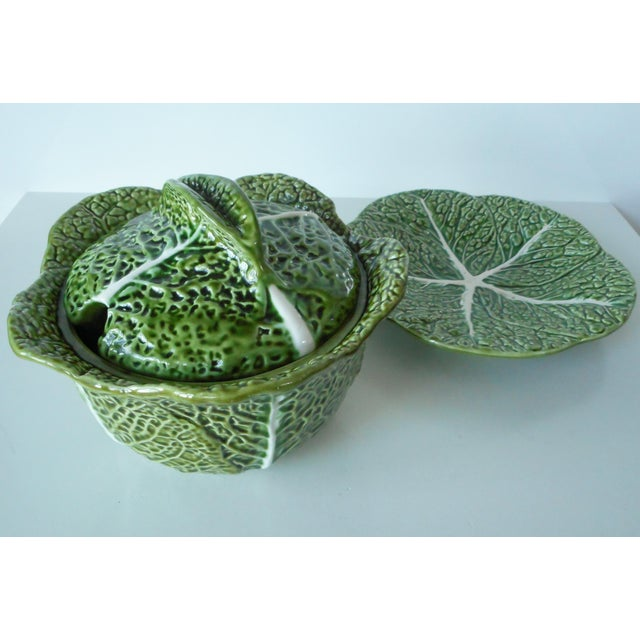 Vintage Majolica Green Cabbage Soup Tureen & Underplate For Sale - Image 4 of 9