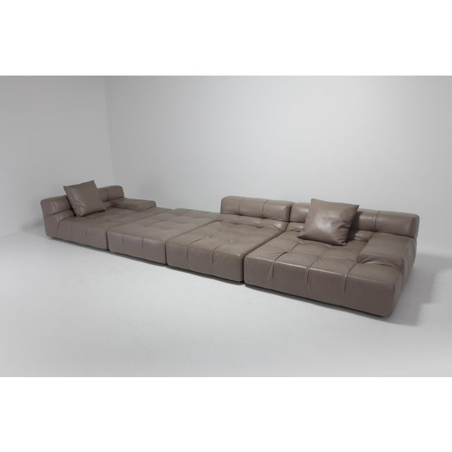 2010s Tufty Time B&b Italia Taupe Leather Sectional Sofa by Patricia Urquiola For Sale - Image 5 of 11