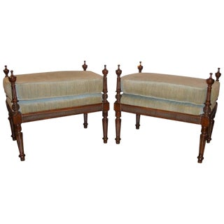 Pair of Louis XVI Style Tabouret Stools Column Form Footstools Over Stuffed For Sale