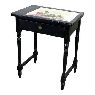 Vintage Black Turned Leg Drawered End Table With Matador and Bull Tile Insert Top For Sale
