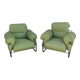1970s Vintage Guido Faleschini for Mariani Leather Tubular Chrome Tucroma Lounge Chairs- A Pair For Sale