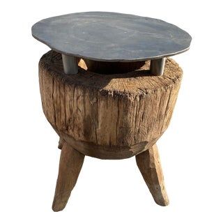 Antique Mortar Base Metal Top Side Table For Sale