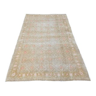 "1960s Vintage Turkish Faded Oushak Rug-4'9'x7'3"" For Sale"