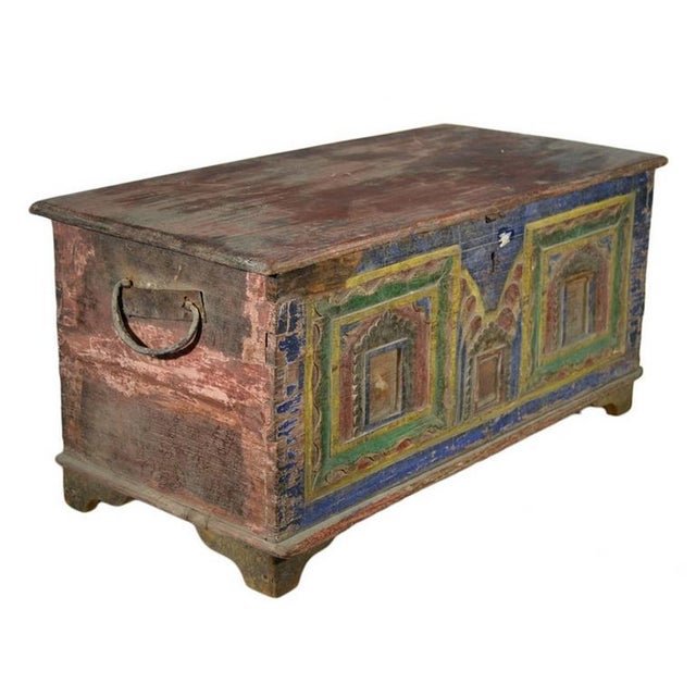 Wood Antique Indian Hand-Carved and Painted Trunk with Patina, 19th Century For Sale - Image 7 of 11