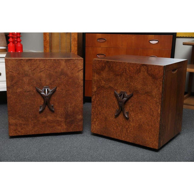 Romweber Mid-Century Modern Night Stands in Exotic Burl Late 1940s - a Pair For Sale - Image 10 of 11