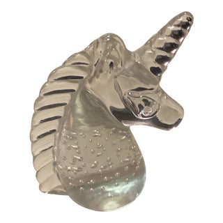 Vintage 1960s Hand Blown Art Glass Unicorn Head Paperweight For Sale