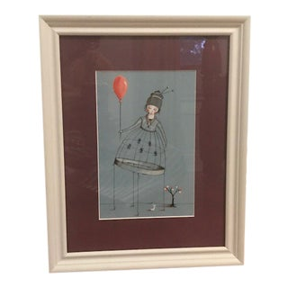 Girl With Red Balloon, Matted & Framed