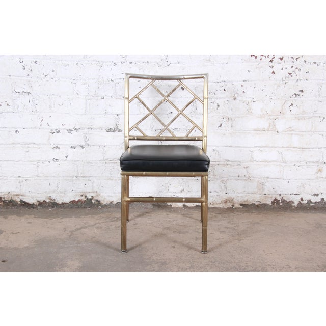 Metal Mid-Century Modern Hollywood Regency Faux Bamboo Brass Dining Chairs - Set of 8 For Sale - Image 7 of 13