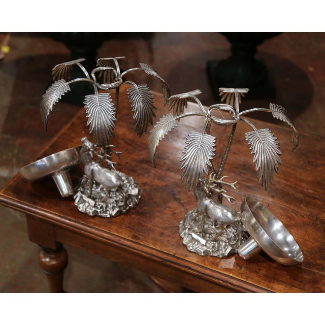 Pair of Early 20th Century Silvered Bronze Centerpieces With Deer Sculpture For Sale - Image 9 of 12