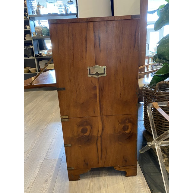 Mount Airy Furniture Company Campaign-Style Mid Century Modern Secretary Chest For Sale In Los Angeles - Image 6 of 13