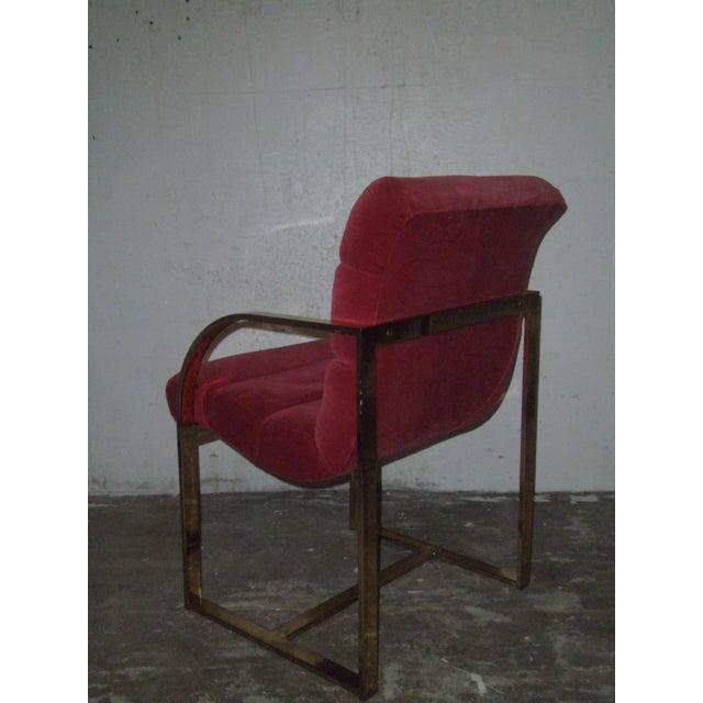 M. Baughman Cherry Velvet & Brass Chairs- A Pair - Image 5 of 8