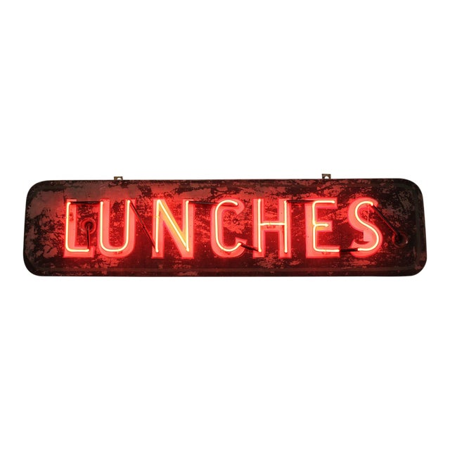 1930's Neon Sign Lunches For Sale