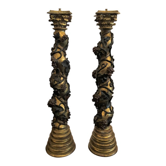 Pair Antique Venetian Carved Wood Pedestals. For Sale