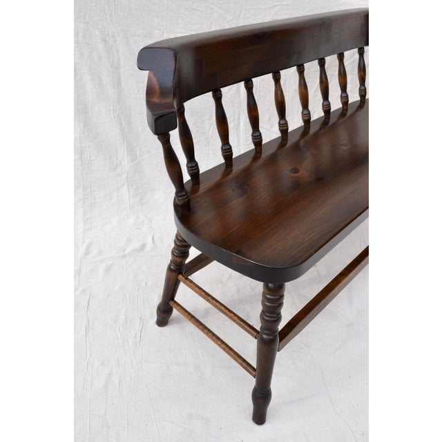 Farmhouse Pine Spindle Back Bench For Sale - Image 9 of 11