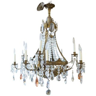 19th Century French Louis XVI Style Bronze and Crystal Twelve-Light Chandelier For Sale