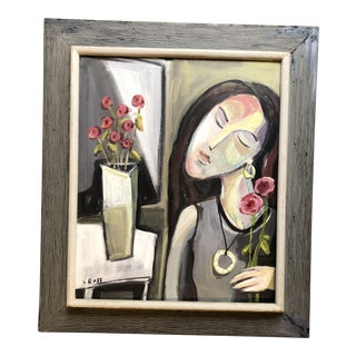 Original Stewart Ross Contemporary Modernist Female Portrait Painting For Sale