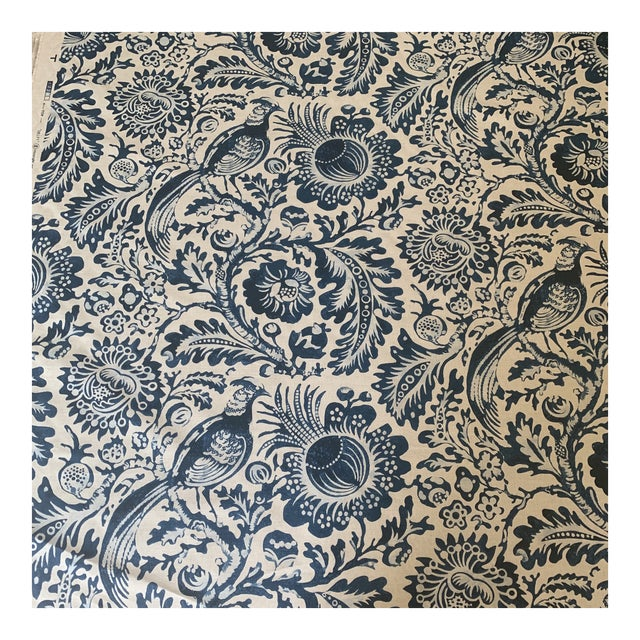 Clarence House Delft Handprint Linen Fabric- 6 Yards For Sale