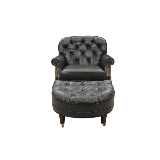 Midcentury Green Leather Armchair and Ottoman - Image 2 of 10