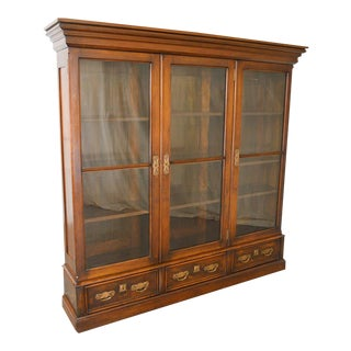 Antique Victorian Art Nouveau Solid Walnut 3 Door Bookcase