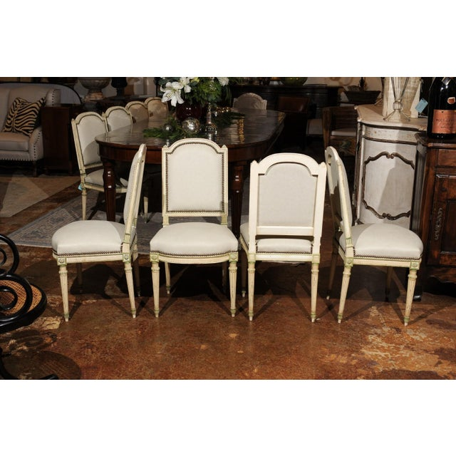 Set of Eight French Louis XVI Style Painted Dining Chairs with New Upholstery For Sale In Atlanta - Image 6 of 13