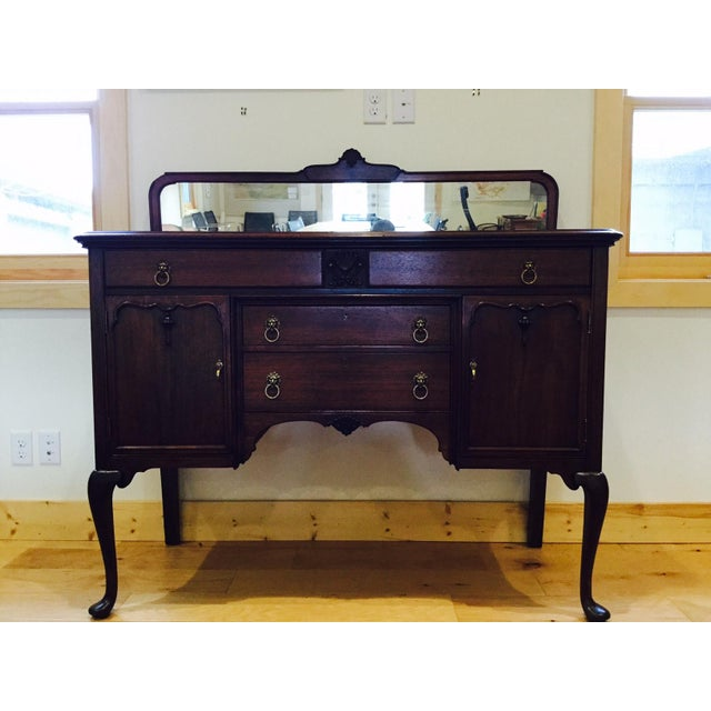 Antique Queen Anne Victorian Buffet For Sale - Image 3 of 10
