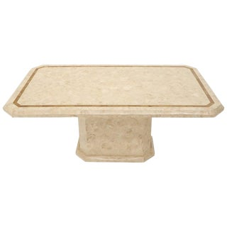Stone Veneer Tessellated Inlayed Rectangular Dining Conference Table For Sale