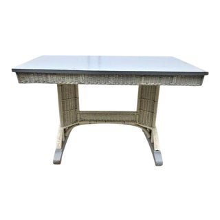 Antique White Wicker Dining Table For Sale
