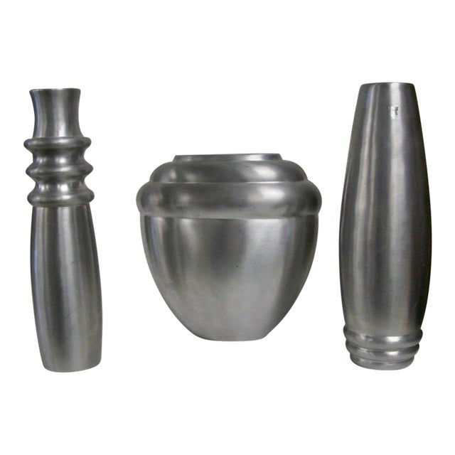 2003 Kilbarry Ireland Marquis by Waterford Pewter Vases - Set of 3 For Sale