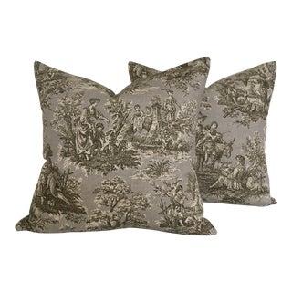 Artisanal Toile Throw Pillows - A Pair For Sale