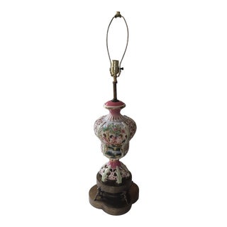 Antique Ceramic and Brass Lamp For Sale