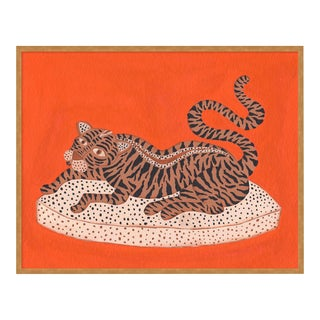Andrew the Big Cat by Willa Heart in Gold Framed paper, Medium Art Print For Sale