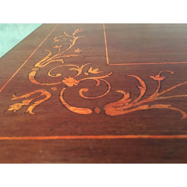 Red 19th Century Baroque Spanish Side Table With Marquetry Top & Lyre Legs For Sale - Image 8 of 13