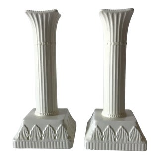 Vintage White Column Candle Holders - A Pair