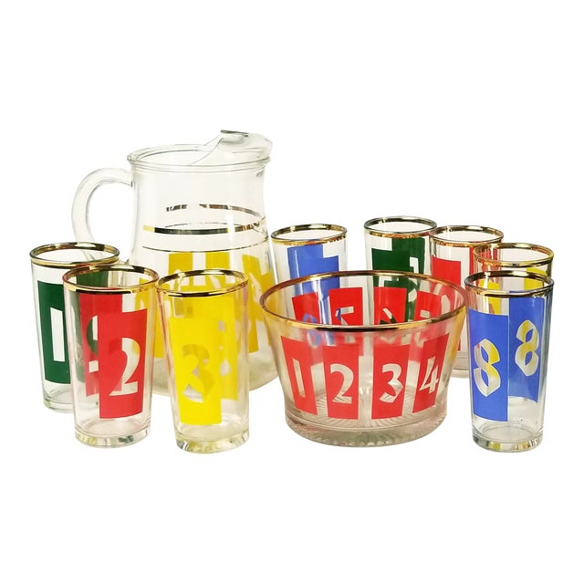 Mid-Century Decanter, Ice Bucket and Highball Glasses Numbered in Bright Primary Colors - Set of 10 For Sale