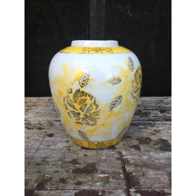 Yellow and White Floral Vase For Sale - Image 5 of 8