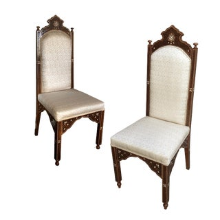 1980s Vintage Mother of Pearl Inlaid Moroccan Dining Chairs- A Pair For Sale