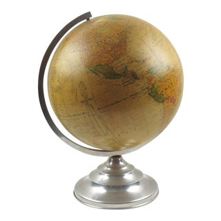 Terrestrial School Glass Globe Lamp by Barrere & Thomas France For Sale