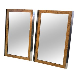 Burlwood and Chrome Modern Mirrors - a Pair For Sale