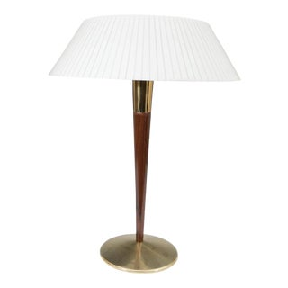 Lightolier Italian Lamp with Tapered Stem in Brass and Wood For Sale