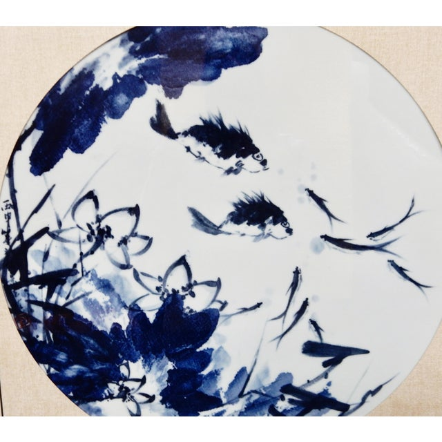 Blue & White Porcelain Fish Panels - A Pair - Image 2 of 6