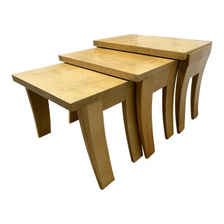 Set of 3 Burlwood Asian Style Nest of Tables For Sale