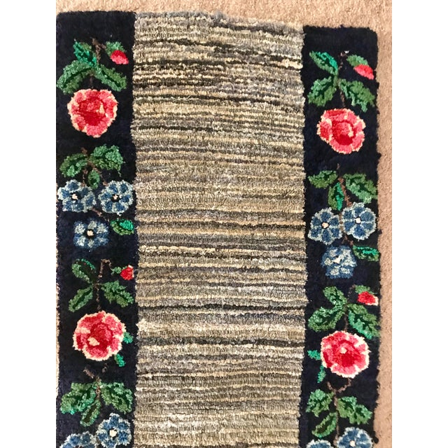 Cottage Early 20th Century Antique Hooked Rug - 4′3″ × 1′10″ For Sale - Image 3 of 8