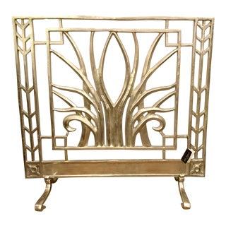 John Richard Stylized Nickle Fireplace Screen For Sale