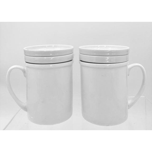 Japanese Ceramic Porcelain White Tea Leaf Cups a Pair Set of Two 2 Lid Infuser Strainer Builtin Antique Vintage For Sale - Image 4 of 7