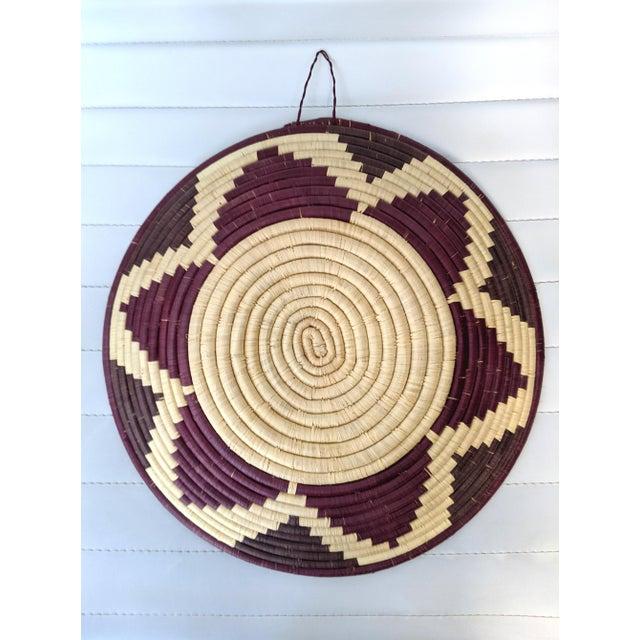 Tribal 1990s Coiled Artisanal Rwandan Basket For Sale - Image 3 of 5
