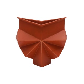 Rare Burnt Orange Geometric Stoneware Vase by Jan Van Der Vaart, Signed/Numbered For Sale