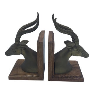 Brass Antelope Head Bookends on Wood Bases - A Pair For Sale