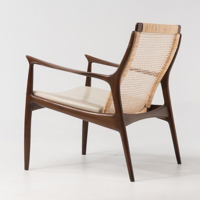 Mid Century Danish Modern Ib Kofod Larsen for Selig cane back Lounge Chair with original ivory vinyl seat and a new cane...