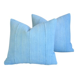"Sky Blue Mud Cloth & Velvet Feather/Down Pillows 17"" X 16"" - Pair For Sale"