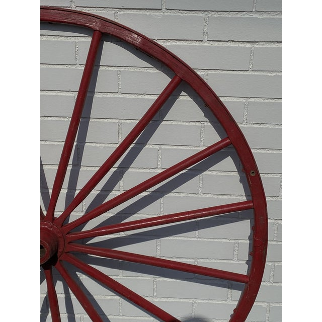 """American Antique Red Wooden Wagon Wheel 43"""" Diameter 16 Spoke Nice For Sale - Image 3 of 8"""
